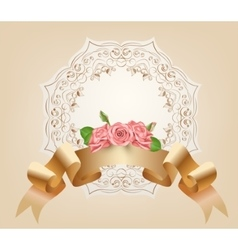 Vintage pastel decorative ribbon with flowers vector