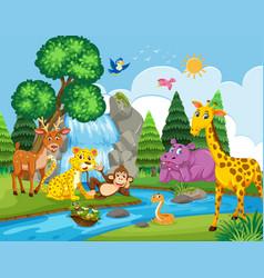 Wild animals next to river vector