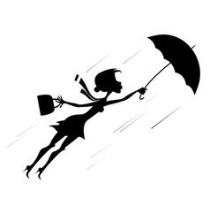 Windy day and woman with umbrella silhouette illus vector