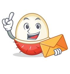 With envelope rambutan character cartoon style vector