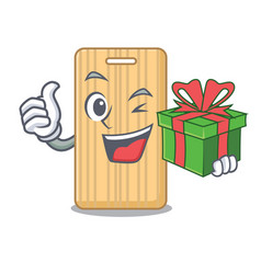 With gift wooden cutting board mascot cartoon vector