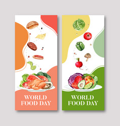 World food day flyer design with tomato chicken vector