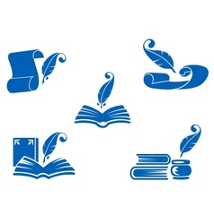 Books manuscripts and feathers icons vector image