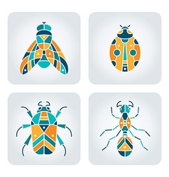 Insects mosaic icons vector image vector image