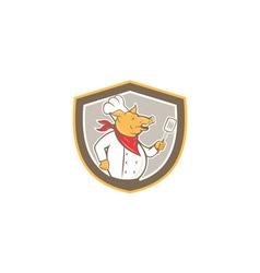 Pig Chef Cook Holding Spatula Shield Cartoon vector image vector image