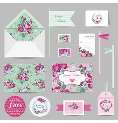 Set of Wedding Stationary - Invitation Card RSVP vector image vector image