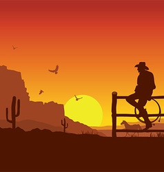 American Cowboy on wild west sunset landscape in vector image vector image