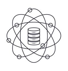 data science atom around of server icon monochrome vector image vector image