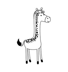 giraffe cartoon in black dotted contour vector image