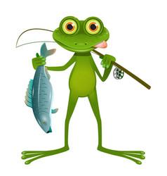 goggle-eyed frog fisherman vector image