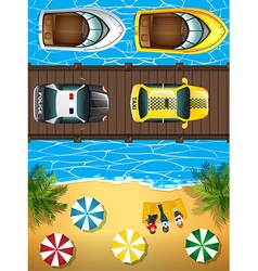 Ocean scene with boats and cars vector image vector image