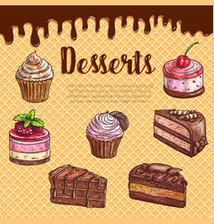 cake dessert menu poster with chocolate cupcake vector image vector image