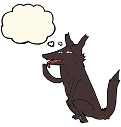 Cartoon wolf licking paw with thought bubble vector