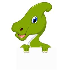 dinosaur cartoon with blank sign vector image vector image