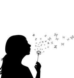 Girl blowing on dandelion vector image vector image