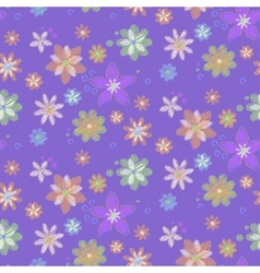 Seamless background with hand-drawn flowers vector image