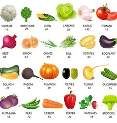 Vegetables calories table vector