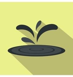 Black oil spill flat icon vector