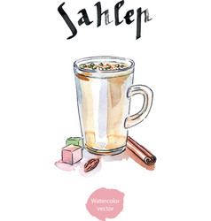cup of sahlep with cinnamon made with milk vector image vector image