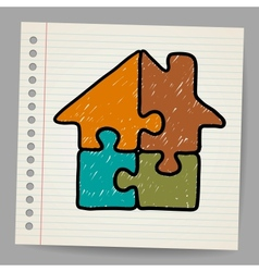 Doodle house from puzzle vector image vector image