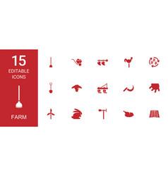 15 farm icons vector image