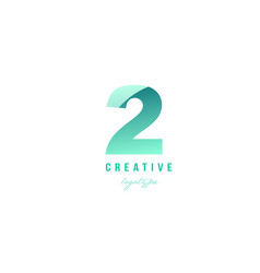 2 two green pastel gradient number numeral digit vector image