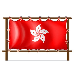 A wooden frame with the flag of Hongkong vector