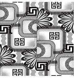 Abstract black and white floral greek seamless vector
