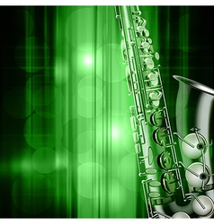 abstract green music background with saxophone vector image