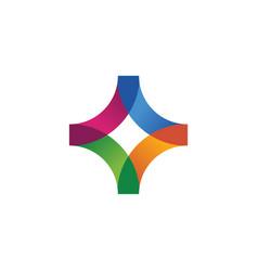abstract logo - geometric shape futuristic cross vector image