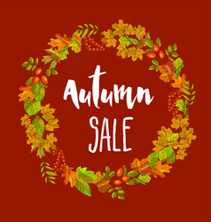 Autumn sale poster of fall leaf foliage vector