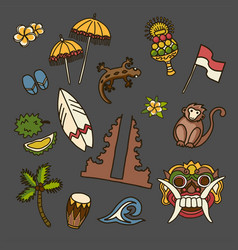 Bali icons set travel collection vector