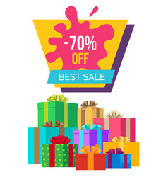 Best sale with 70 off poster with gift boxes vector