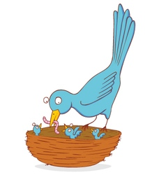 bird and nestling vector image
