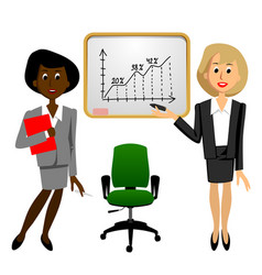 Black and white businesswomen in office near the vector