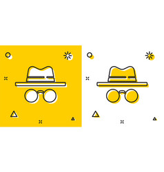 Black incognito mode icon isolated on yellow and vector