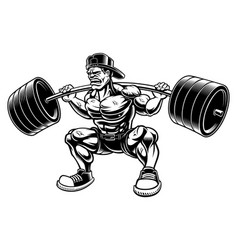 Bodybuilder doing squats with barbell vector