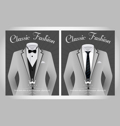 business suit template with black tie and white sh vector image