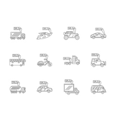Car rent and sale flat line icons set vector