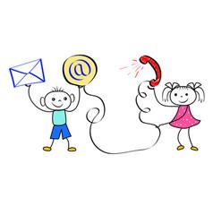 cartoon customer service concept happy stickman vector image