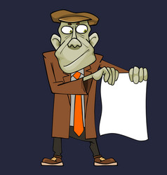 cartoon green man in suit showing blank sheet vector image