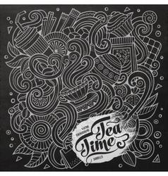 cartoon hand-drawn doodles cafe coffee shop vector image