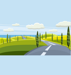 cartoon landscape with road higway and summer vector image