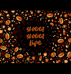 chocolate candy frame choco candies on black vector image