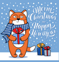 christmas and new year card with standing fox vector image