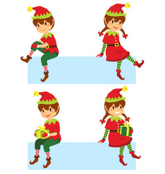 Christmas elves banner vector
