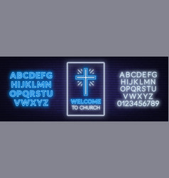church cross neon sign glowing symbol of the vector image