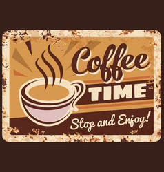 Coffee metal plate rusty poster retro cafe sign vector