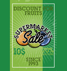 color vintage supermarket sale banner vector image