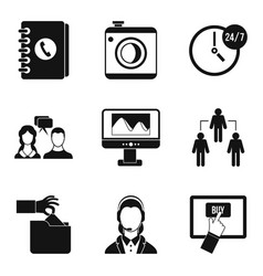connectivity icons set simple style vector image